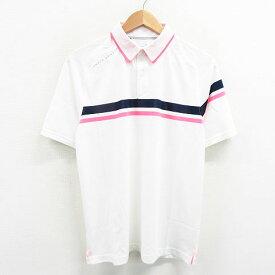 UNDER ARMOUR アンダーアーマー 半袖ポロシャツ 襟裏ピンク ホワイト系 MD 【中古】ゴルフウェア メンズ