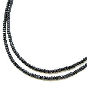 スーパーSALE 店内全品ポイント10倍 ブラックスピネル ネックレス 4mm 2連 グレードAAA ブラック メンズ アクセサリー プレゼント シルバー SV 重ねづけ