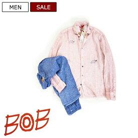 【定価25,300円(税込)】BOB ボブ  極上のリネンシャツに立体刺繍をプラス!ベーシックシャツに新たな感性をプラスした大人の休日を格上げする一枚!立体刺繍シャツ ピンク ブルー  KOON クーン 072713220 XS S M L XL XXL XXXL イタリア製 メンズ