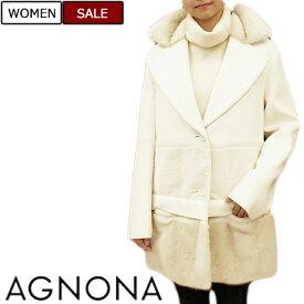 【定価1,815,000円(税込)】AGNONA -アニオナ- 美しいシルエットとミンクファーで気品溢れる女性へ☆上質なウール100%で暖かさと着心地も抜群!上品さと華やかさを兼ね備えたミディアム丈コート ホワイト 10801007 イタリア製 36 38 40 42 44 46 レディース
