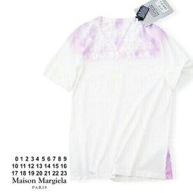 【定価19,800円(税込)】Maison Margiela メゾン マルジェラ 今やマルジェラの定番となったチャリティー'エイズTシャツ'!上質コットンタイダイ染めVネックTシャツ! マルタンマルジェラ S32GJ0007 ホワイト×ピンク ユニセックス 男女兼用