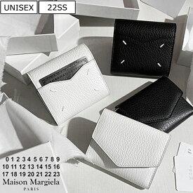 【定価53,900円(税込)】Maison Margiela メゾン マルジェラ 上品なカーフレザーが大人の品格を演出 ブランドアイコンステッチ入り5AC 3つ折りウォレット財布 エンベロープ マルタンマルジェラ S56UI0136 T1003 T8013 ホワイト ブラック イタリア製 1211