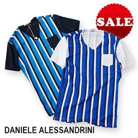 【定価18,700円(税込)】DANIELE ALESSANDRINI ダニエレアレッサンドリーニ 遊び心たっぷりで洗練された表情が秀逸!1枚でも主役を張れる大人のTシャツスタイルに持ってこいなストライプVネックTシャツ 41841003 XS S M L XL XXL XXXL メンズ