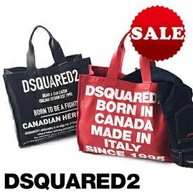 【定価107,800円(税込)】DSQUARED2 ディースクエアード ポップなロゴと上質レザーのバランスが大人好み♪くたっくたのカウレザーが癖になる、守備範囲広めのレザートートバッグ -Canadian Heritage Shopping Bag- S83SP0022 レッド ブラック 男女兼用 ユニセックス