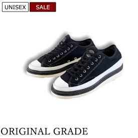 【定価31,900円(税込)】ORIGINAL GRADE オリジナルグレード オトナの休日コーデの幅を広げる!アウトドアにもガンガン使える実用性と拘りの加工で魅せるレザーコンビネーション 裏起毛キャンバススニーカー 靴 ブラック 02917012 ビブラムソール ユニセックス