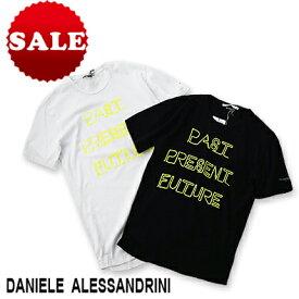 【定価16,500円(税込)】DANIELE ALESSANDRINI ダニエレアレッサンドリーニ 大人の遊び心擽るネオンカラーが印象的!主役を張れる一枚!ネオンカラーロゴプリントクルーネックTシャツ 41841002 ホワイト ブラック XS S M L XL XXL XXXL メンズ