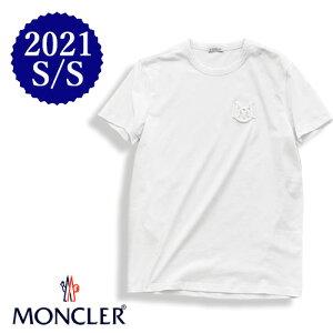 【定価33,000円(税込)】MONCLER モンクレール 大人の品格溢れるデザインと美しいシルエットで魅せる1枚!立体アイコン刺繍付き クルーネックTシャツ  ホワイト ワッペン XS S M L XL XXL XXXL