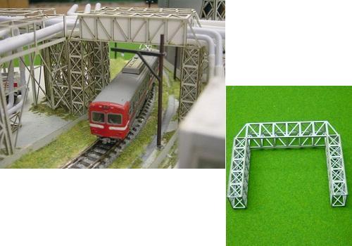 Nゲージ:β版 工場パイプラック 跨線橋型セット タイプB