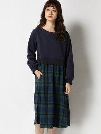 [Rakuten Fashion]N-ウラケドッキングOP studio CLIP スタディオクリップ ワンピース 長袖ワンピース ネイビー レッド