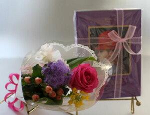 ミニ花束とスイーツのセット【赤い帽子のクッキー&チョコ】【大橋珍味堂のせんべい】【生花】【花とスイーツ】【あす楽】バレンタインデー ホワイトデー 卒業式 花とお菓子のセット