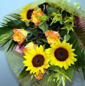 バラとヒマワリの花束 生花 花束 フラワーギフト 花の贈り物 誕生日 母の日 父の日 プレゼント