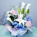 やさしい色彩で 生花 アレンジ カラー ユリ バラ 花束 フラワーギフト 花の贈り物 誕生日 お祝い 開店祝い 出産祝 内祝い プレゼント