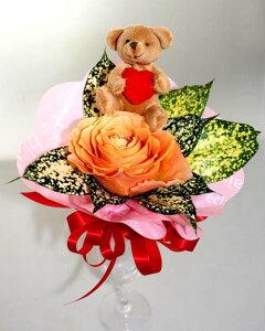 バラとテディベアのミニ花束 ミニブーケ 生花 くま クマ ぬいぐるみ バレンタインデー ホワイトデー クリスマス テディベア ハート 父の日