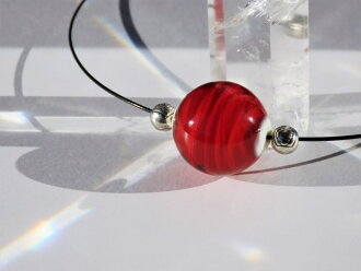Japanese Lampwork Glass Beads Necklace Red Black Wire Pendant StudioWAZA