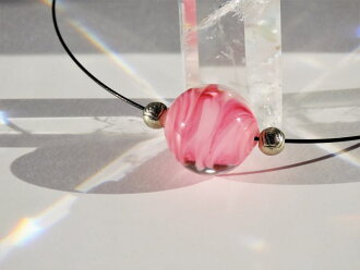 Japanese Lampwork Glass Beads Necklace Pink Black Wire Pendant StudioWAZA
