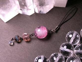 Japanese Lampwork Glass Bead Cell Phone Charm Pink StudioWAZA