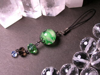 Japanese Lampwork Glass Bead Cell Phone Charm Green StudioWAZA