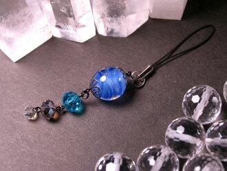 Japanese Lampwork Glass Bead Cell Phone Charm Blue StudioWAZA