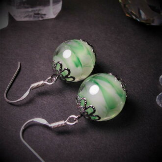Japanese Lampwork Glass Beads Earrings Green Sterling Silver StudioWAZA