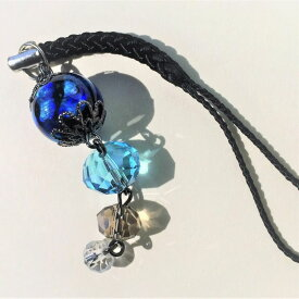 根付け ほたる玉 とんぼ玉 帯飾り ストラップ 光る ホタル ガラス 男女兼用 ブルー