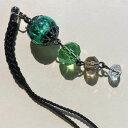 根付け ほたる玉 とんぼ玉 帯飾り ストラップ 提げ物 提物 光る ホタル ガラス 男女兼用 グリーン
