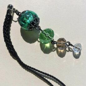 根付け ほたる玉 とんぼ玉 帯飾り ストラップ 光る ホタル ガラス 男女兼用 グリーン
