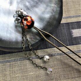 とんぼ玉 かんざし ほたる玉 二又 光る ホタルガラス 沖縄 お土産 オレンジ