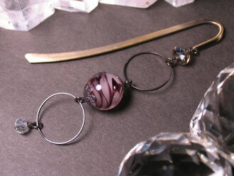 Japanese Lampwork Glass Bead BookMark Hairpin Purple StudioWAZA