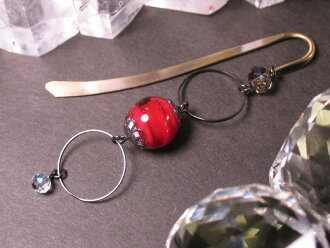 Japanese Lampwork Glass Bead BookMark Hairpin Red StudioWAZA