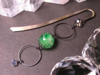 Japanese Lampwork Glass Bead BookMark Hairpin Green StudioWAZA