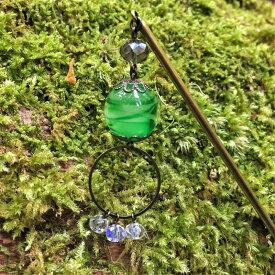 かんざし とんぼ玉 一本 普段使い 緑 グリーン ガラス ビーズ