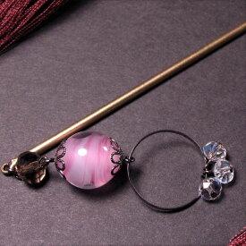 かんざし とんぼ玉 一本 普段使い 桃色 桜色 ピンク ガラス ビーズ