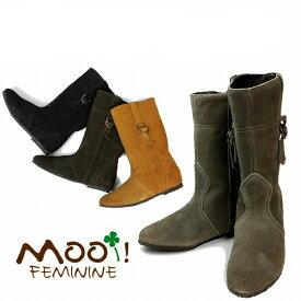 訳あり品 モーイフェミニン(mooi FEMININE) 本革 スウェード サイドリング ショート ブーツ MOOI FEMININE レディース(女性用 ) カジュアル レザー 天然皮革 (z1431-0072b)