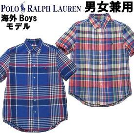 ポロ ラルフローレン ワンポイント チェックシャツ 男性用兼女性用 POLO RALPH LAUREN 323-785807 メンズ レディース 半袖シャツ (2123-1215)