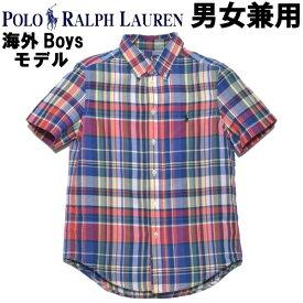 ポロ ラルフローレン ワンポイント チェックシャツ 男性用兼女性用 POLO RALPH LAUREN 323-785807 メンズ レディース 半袖シャツ レッドマルチ (01-21231129)
