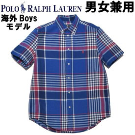 ポロ ラルフローレン ワンポイント チェックシャツ 男性用兼女性用 POLO RALPH LAUREN 323-785807 メンズ レディース 半袖シャツ ブルー (01-21231130)