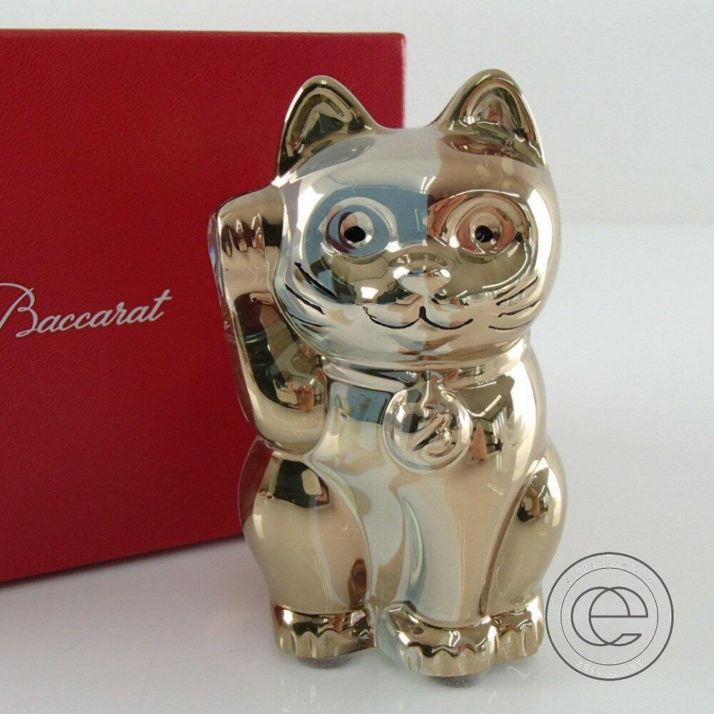 【Baccaratバカラ】 Lucky Catラッキーキャット 招き猫 オブジェ クリスタル ユニセックス 【中古】