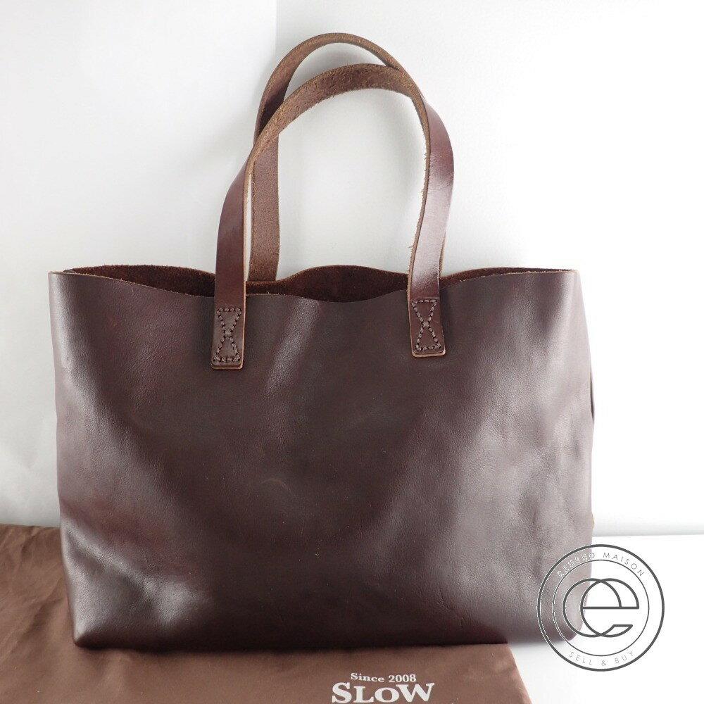 SLOW スロウ bono zip tote bag ボーノ ジップレザー トートバッグ ブラウン メンズ 【中古】