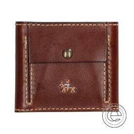 HENRY CUIR アンリークイール RAMBLAS ランブラス インディアン刺繍 レザー 二つ折り財布(小銭入れあり) CAFFE(ブラウン) レディース 【中古】