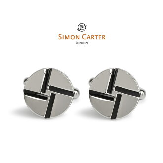 Simon Carter cuff / cuff button (caph Lynx) / geometric design Mondrian : Onyx / SIMON CARTER (Simon Carter) / stone /