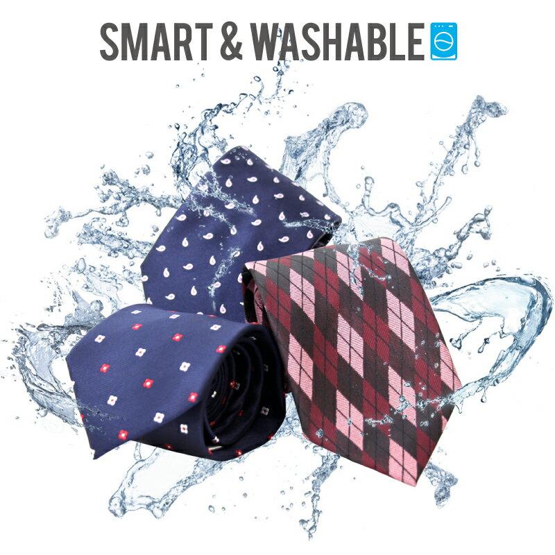 【ネコポス送料無料】SMART&WASHABLE ネクタイ 洗える おしゃれ 無地 ドット ストライプ チェック 赤 ネイビー ワイン プレゼント レギュラー 8cm シャツ チーフ ビジネス