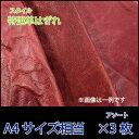 【特選】牛革 革はぎれ/ハガワ A4サイズ相当 赤色3枚アソート