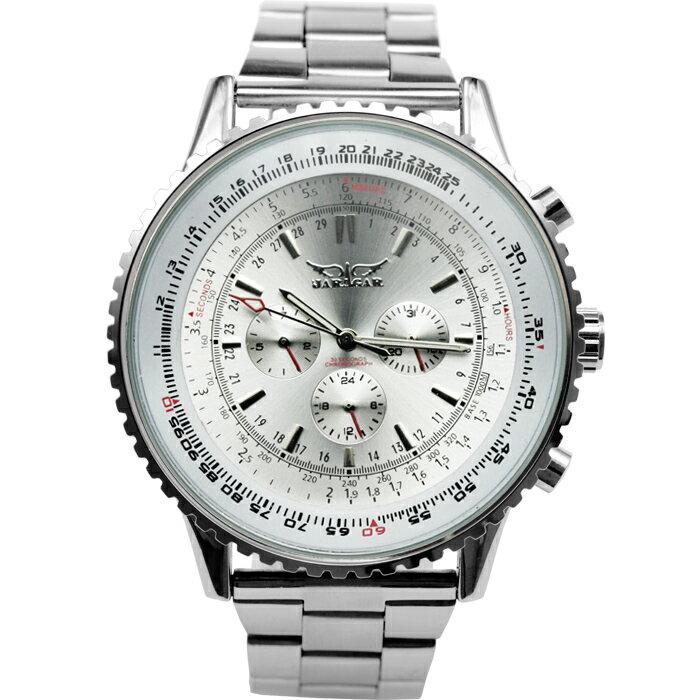 【店内全品ポイント10倍!4/22(月)9:59迄】自動巻き腕時計 メンズ 送料無料 1年保証 メンズ腕時計 クロノグラフ自動巻き腕時計 ビッグフェイス自動巻き腕時計 1年保証&BOX付き 0125 AOR-A