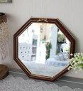 フレンチリボンのウォールミラー(ブラウン)八角形 鏡 壁掛け 可愛い アンティーク風 シャビーシック フレンチカント…