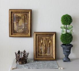 アンティークな壁飾り ウォールデコ キー カトラリー ゴールド 額 壁掛け 可愛い 壁飾り アンティーク風 シャビーシック フレンチカントリー アンティーク 雑貨 antique french country