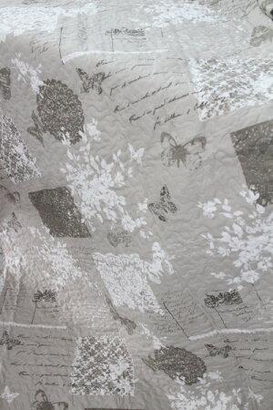 フランスから届くフレンチキルト・クッション2個付き(グレージュ×パピオン柄)【BlancdeParis】キルトキルトラグキルトスローマルチカバーシャビーシックアンティーク風フレンチカントリーフランス