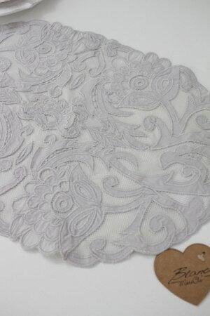 レースランチョンマット(ホワイト・グレー)【BlancMaricloブランマリクロ】イタリア直輸入プレースマットテーブルセンターシャビーシックアンティーク風アンティーク雑貨フレンチカントリー姫系antique