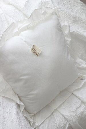 フリルのクッション(ホワイト)60cm角中綿付き【BlancMaricloブランマリクロ】イタリア直輸入トップクロスシャビーシックアンティーク風アンティーク雑貨フレンチカントリー姫系antique