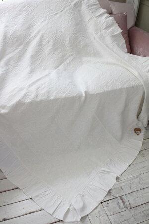 ジャガードフリルのマルチカバー(ホワイト)テーブルクロスベッドスプレット【BlancMaricloブランマリクロ】イタリア直輸入シャビーシックアンティーク風アンティーク雑貨フレンチカントリー姫系antique
