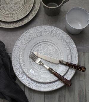 アンティークな輸入食器マグカップマグ(RUANOVA/GY/WH)ボルダロ・ピニェイロポルトガル製おしゃれシャビーシックアンティーク風洋食器